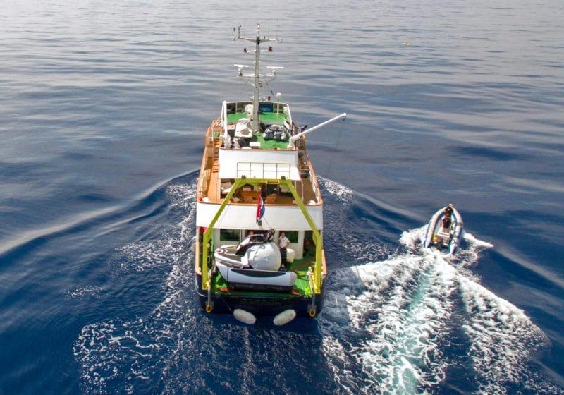 Aerial of Support Vessel ALK underway
