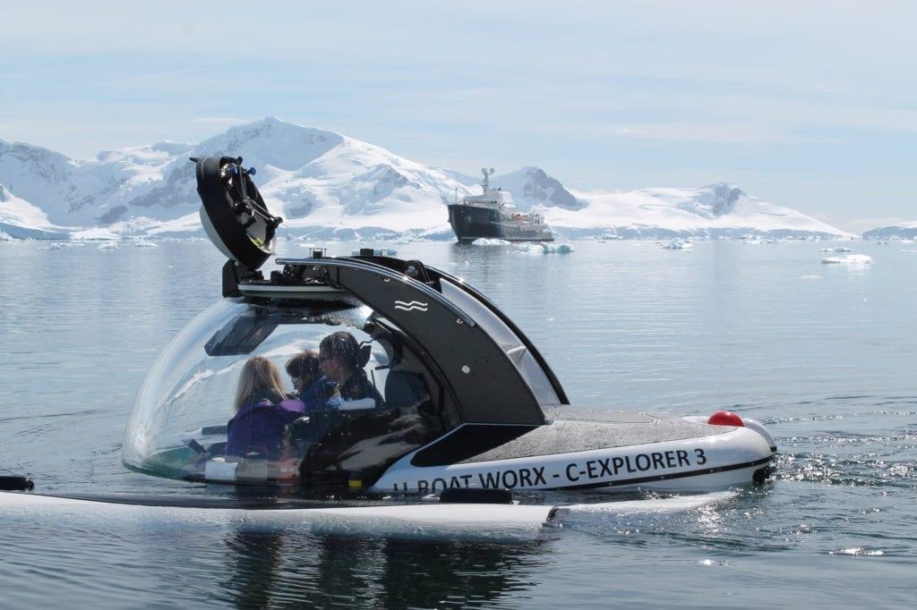Submarine in Antarctic waters