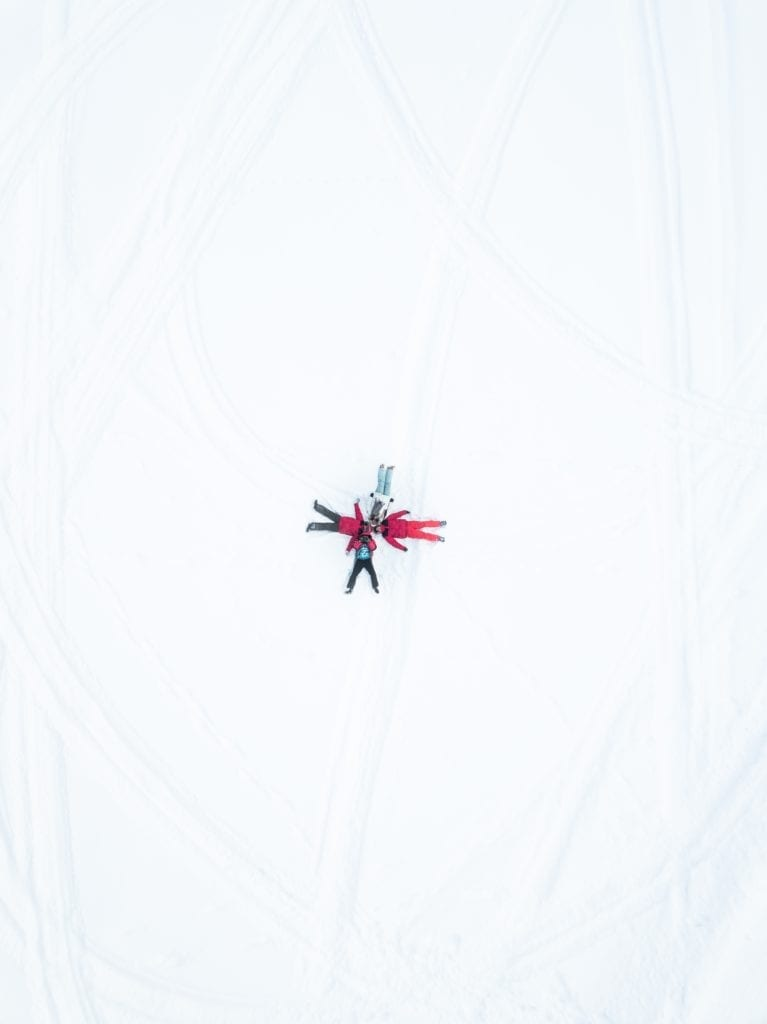 snow angel family aerial