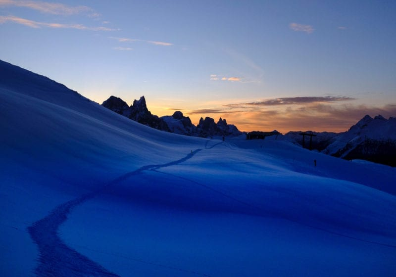 Italy Dolomites Skiing Sunset