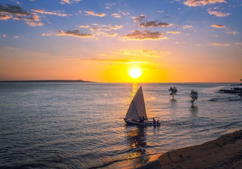 Sailing at sunset in Madagascar