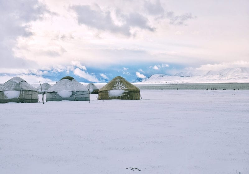 Mongolia yurts in winter