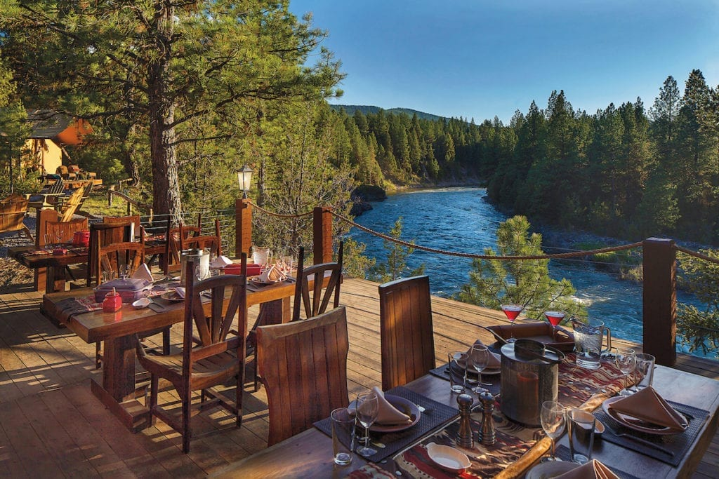 Riverside dining in Montana