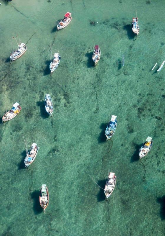 Sri Lanka Boats at Sea Aerial
