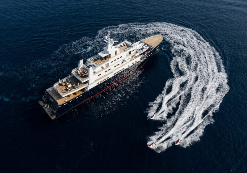 aerial shot of Bleu de Nimes yacht and tender