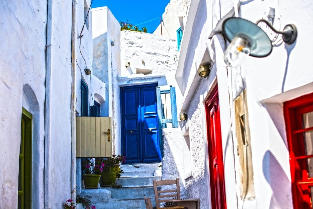 Whitewashed town of Chora on Amorgos island in the Cycladese, Greece