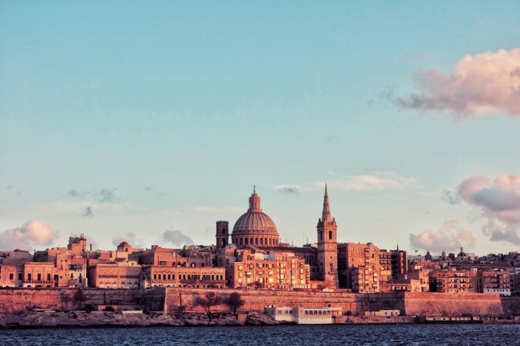 view over the city of Valetta from the water