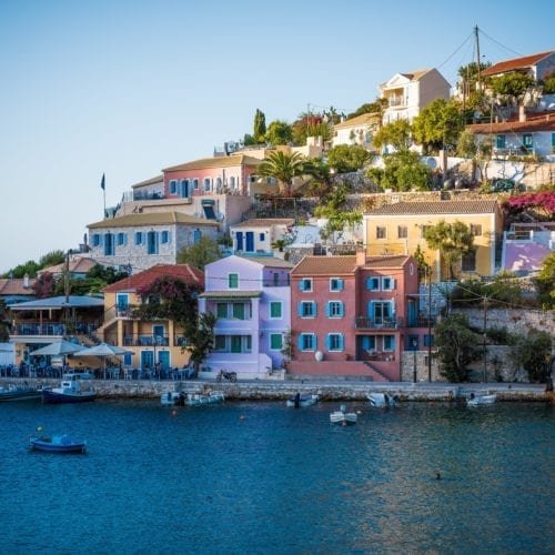 colourful and authentic island town featuring small tavernas