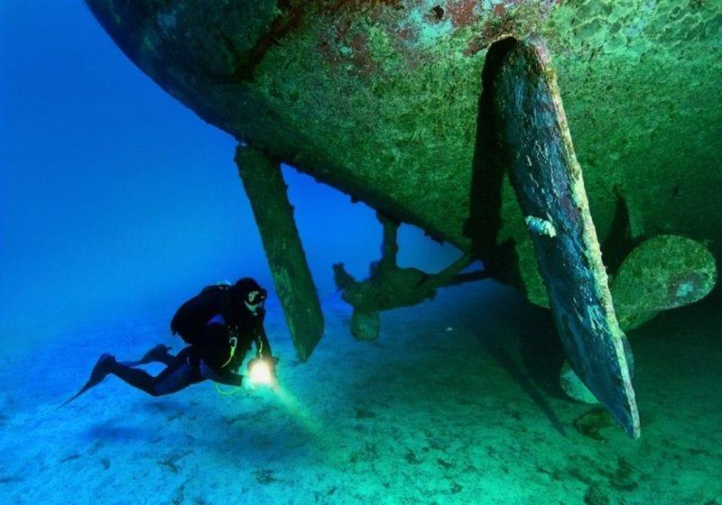 Diving around Hull of Wreck Viewing Malta Credit