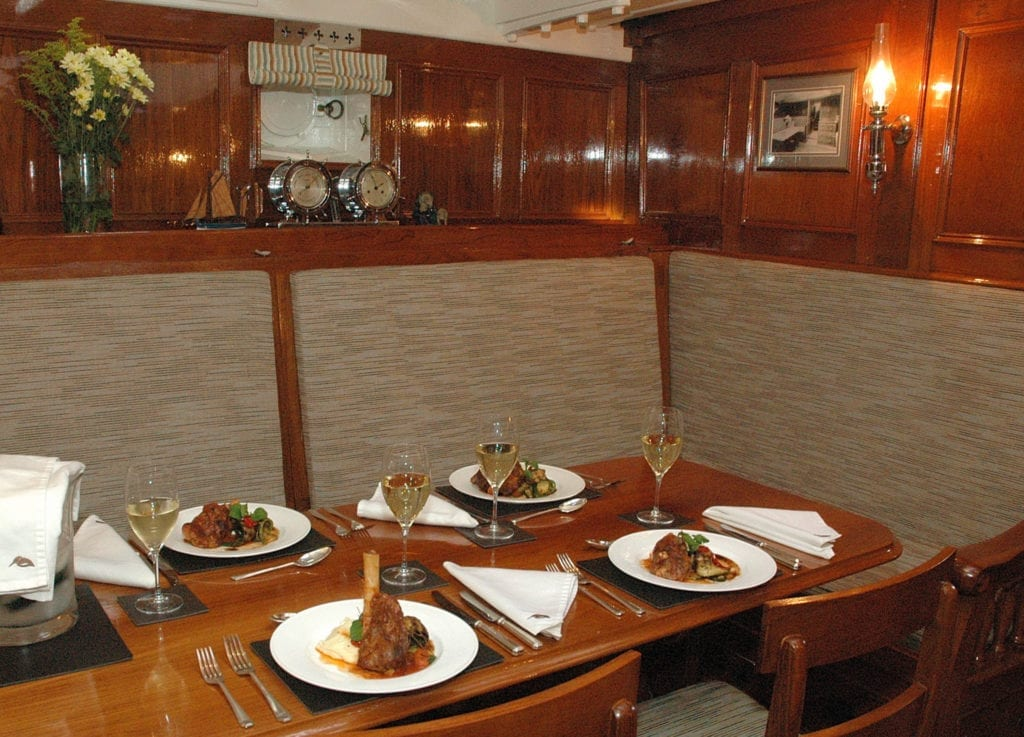 Halcyon Yacht Interior Dining