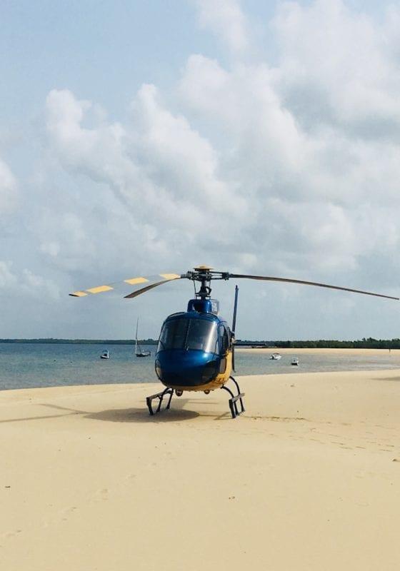 Heli on Beach in Tanzania