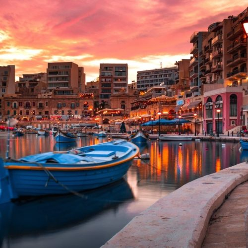 An enchanting Maltese port at sunset