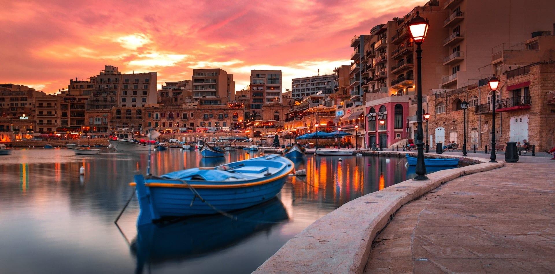 An enchanting Maltese port at sunset