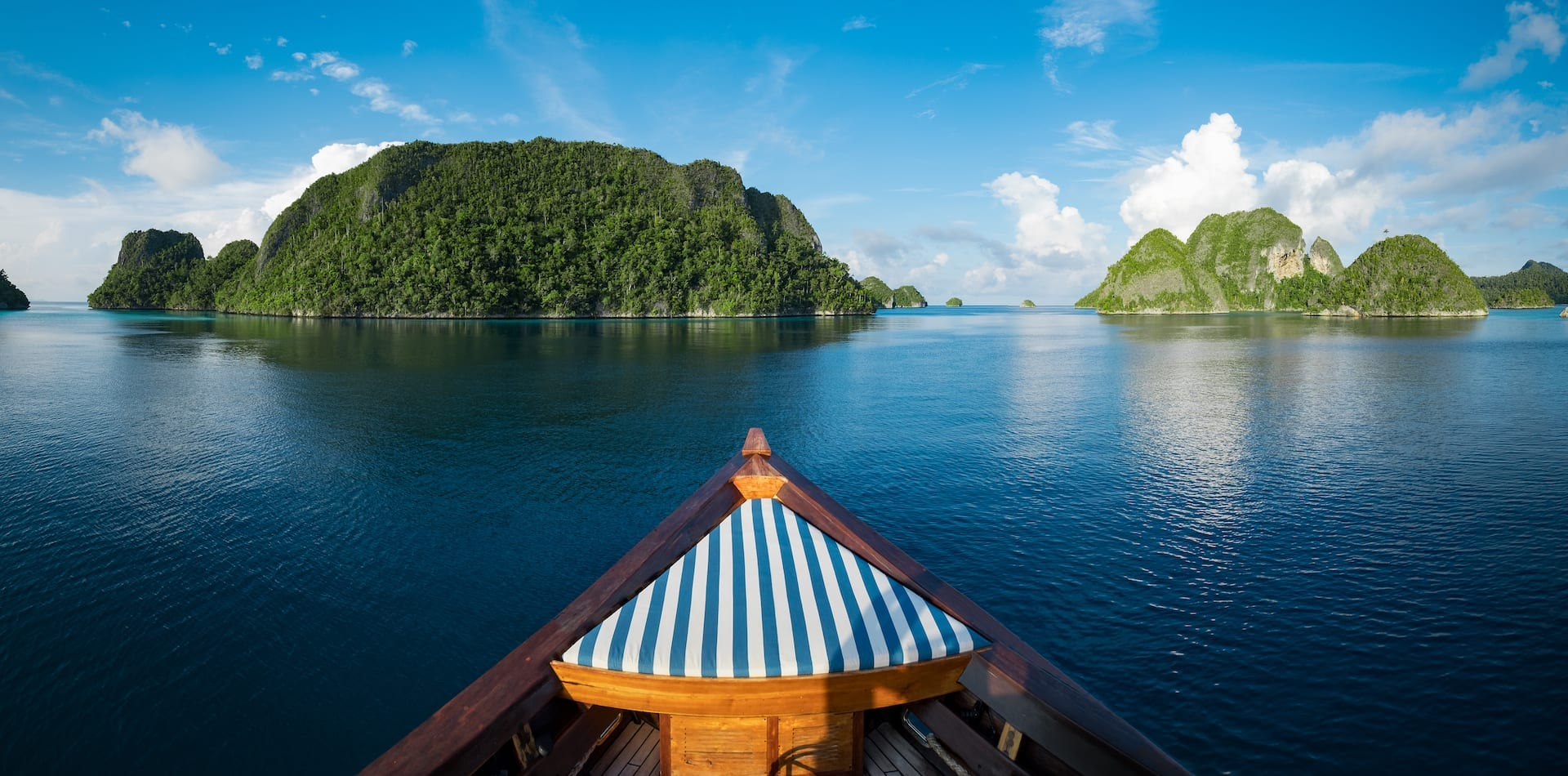 View from Rascal's bow in Raja Ampat