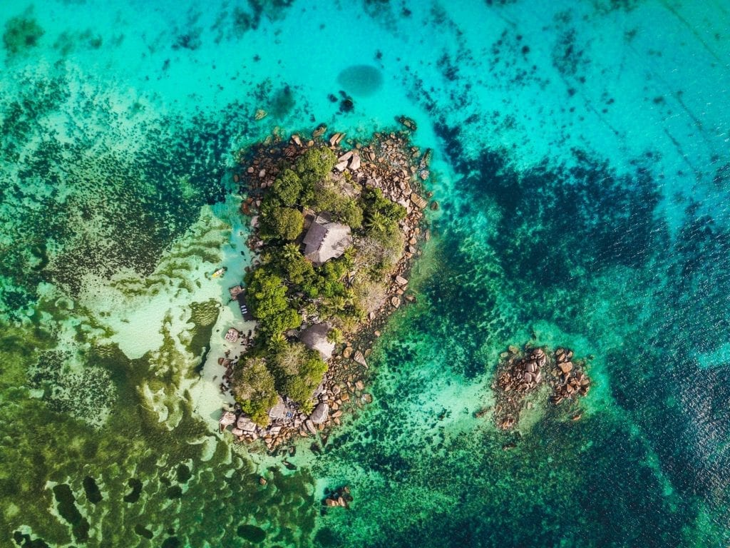 Aerial Image of Island in the Seychelles