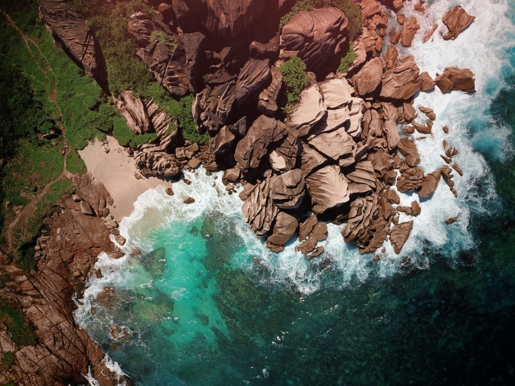 Aerial View of Granite Boulders on the Beach in the Seychelles