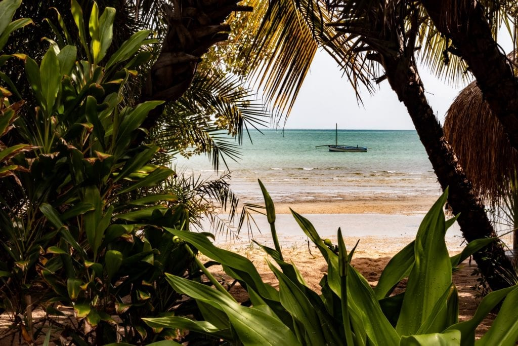 Boat and Jungle on the beach on Benguerra Island Mozambique Bazaruto Archipelago
