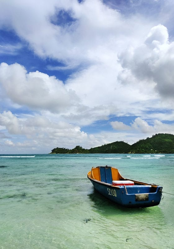 Boat on the water in the Seychelles