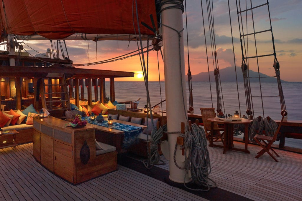Deck at Sunset onboard Yacht Si Datu Bua