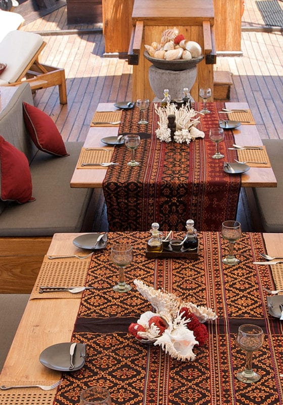 Dining on Deck of Silolona Yacht