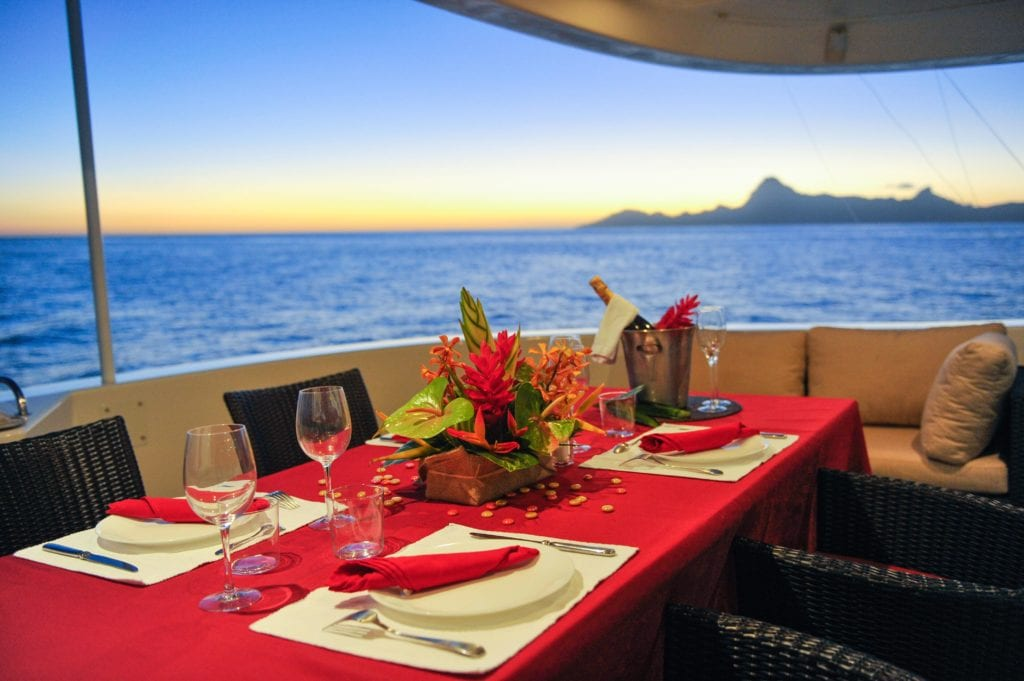 Dining on the Bridge Deck of Ultimate Lady Yacht