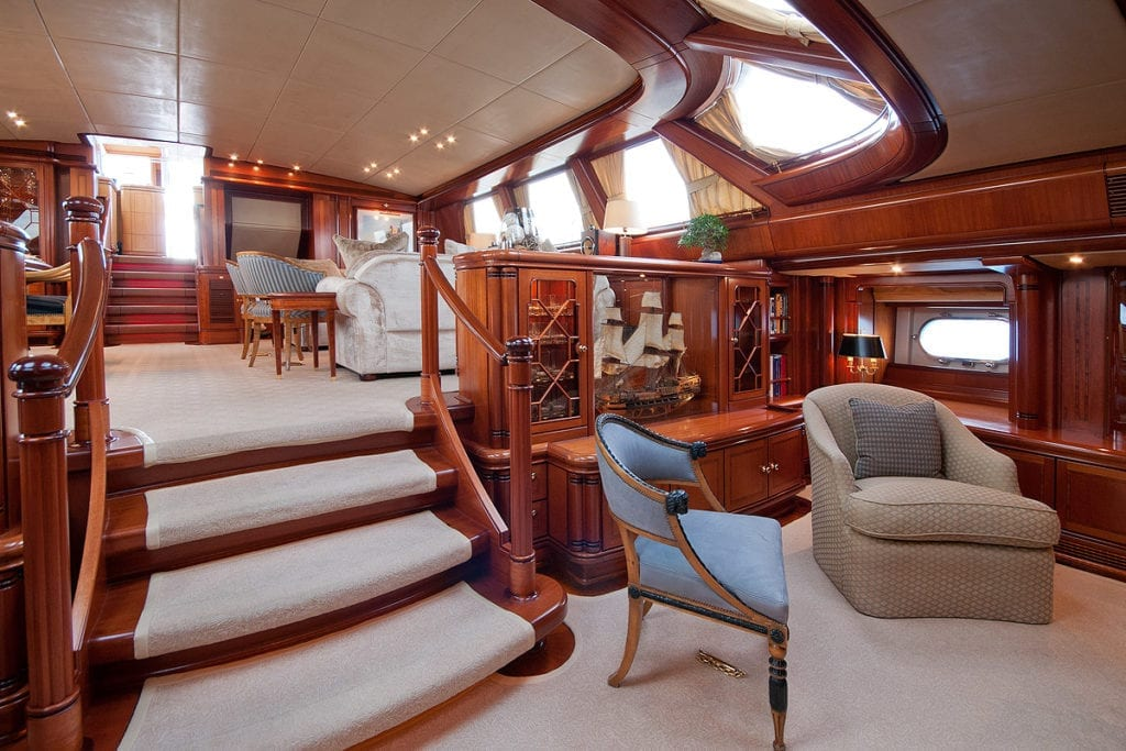 Main Salon Lounge Seating Area Interior Hyperion Yacht