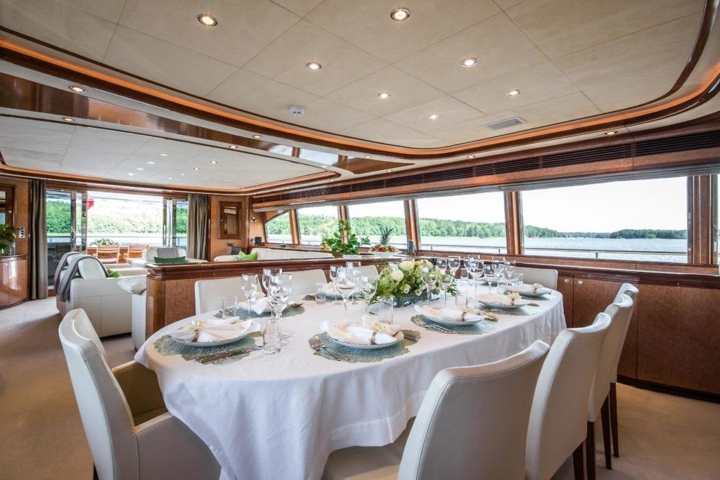 Indoor Dining Area Queen of Sheba Yacht