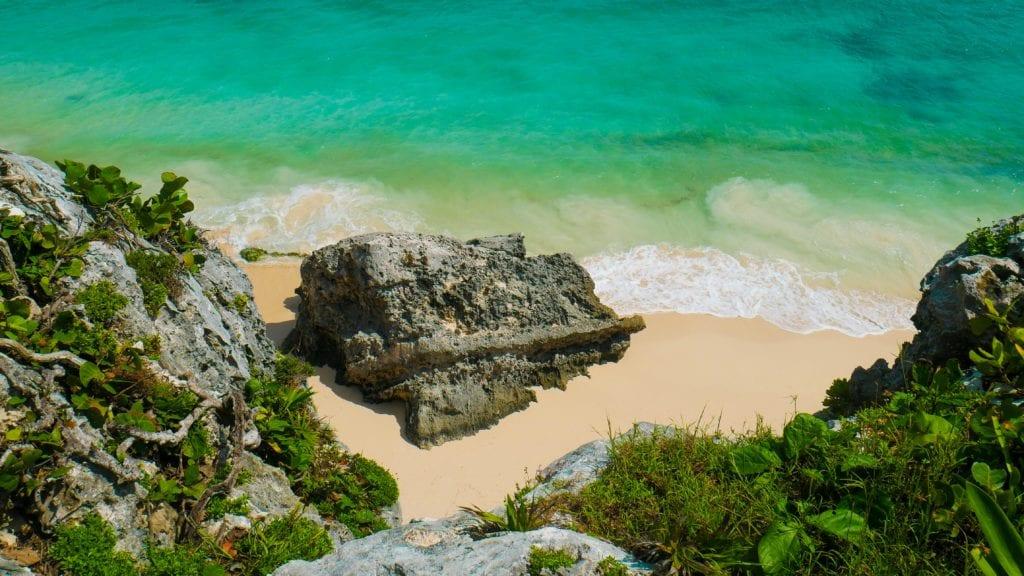 Quintana Roo Beach Ocean Rocks in Mexico