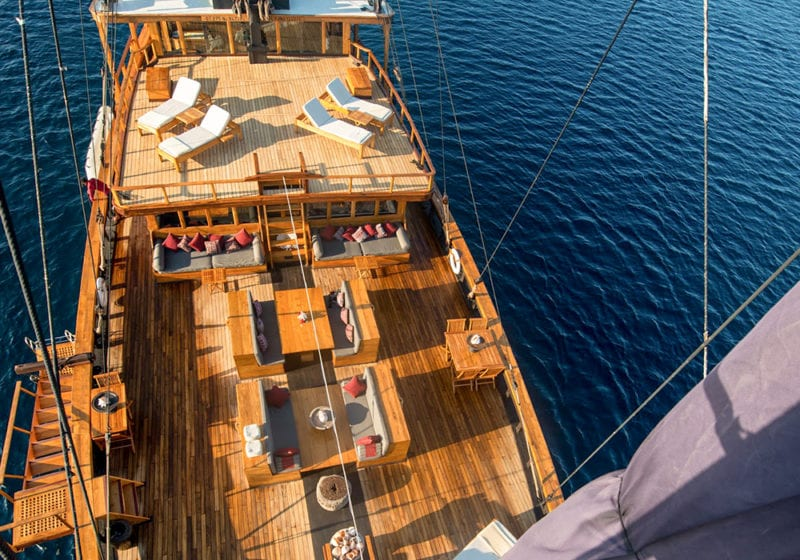 Silolona Yacht Aerial View of the Deck