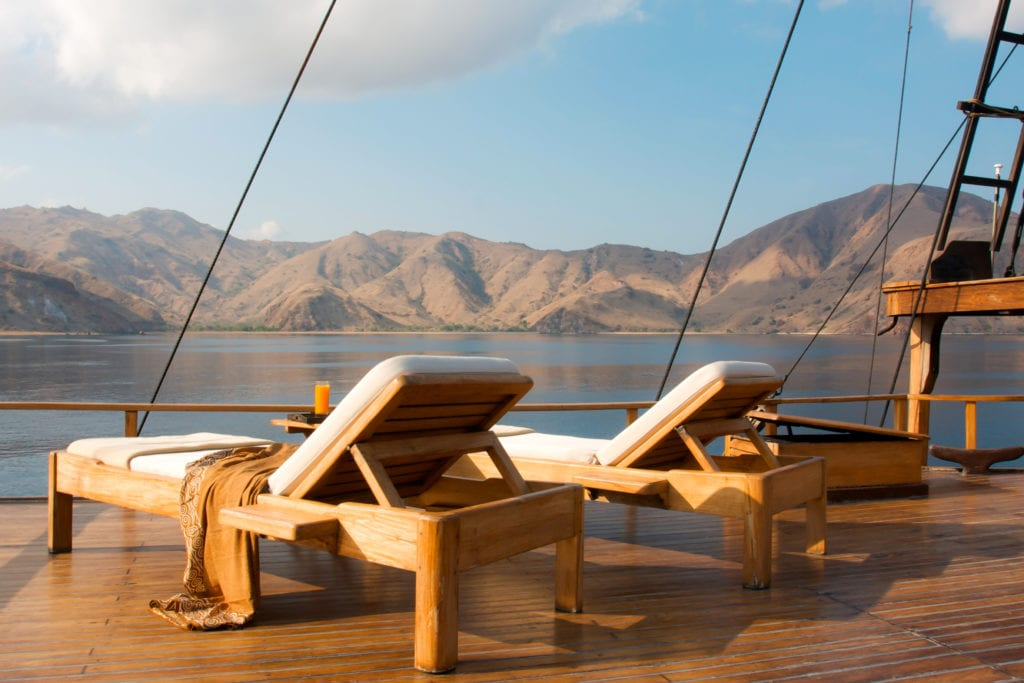 Sun Lounger on the Deck of Silolona Yacht