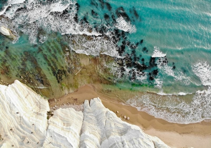 Arial View of the White Cliffs on the Coast of Sicily Italy