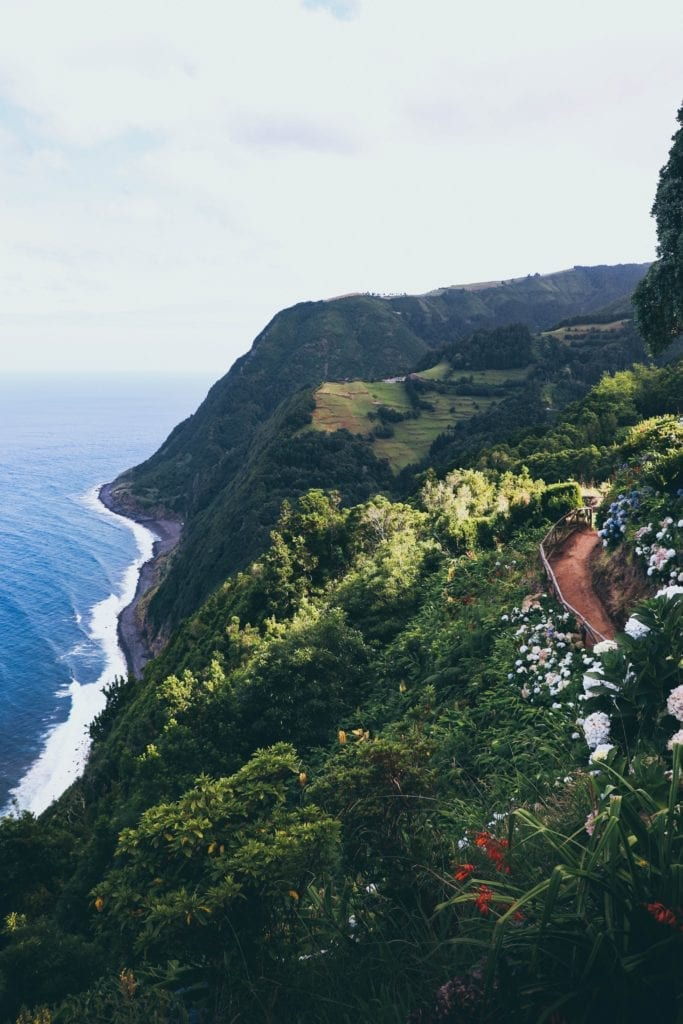 Scenic coastal walk in the Azores