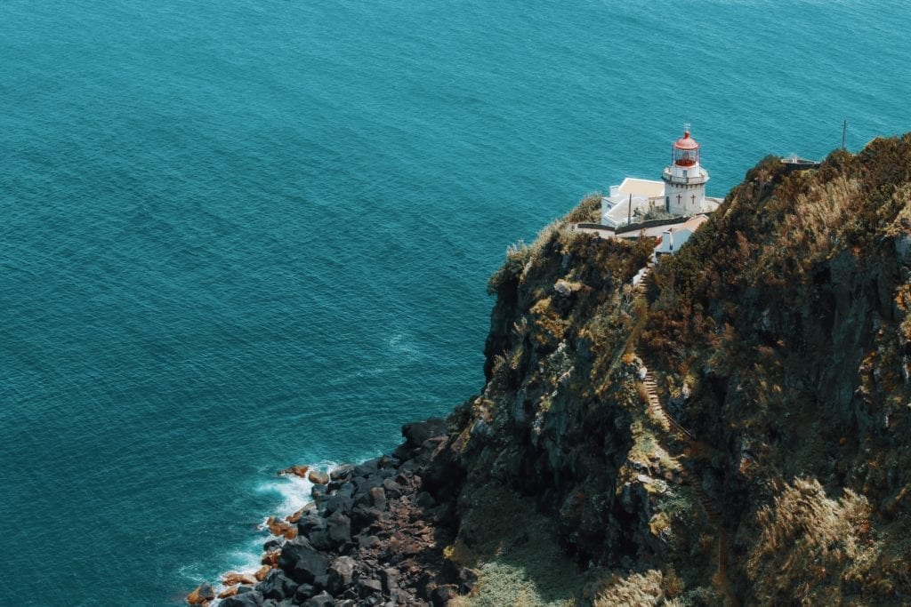 Lighthouse on coast in the Azores Islands