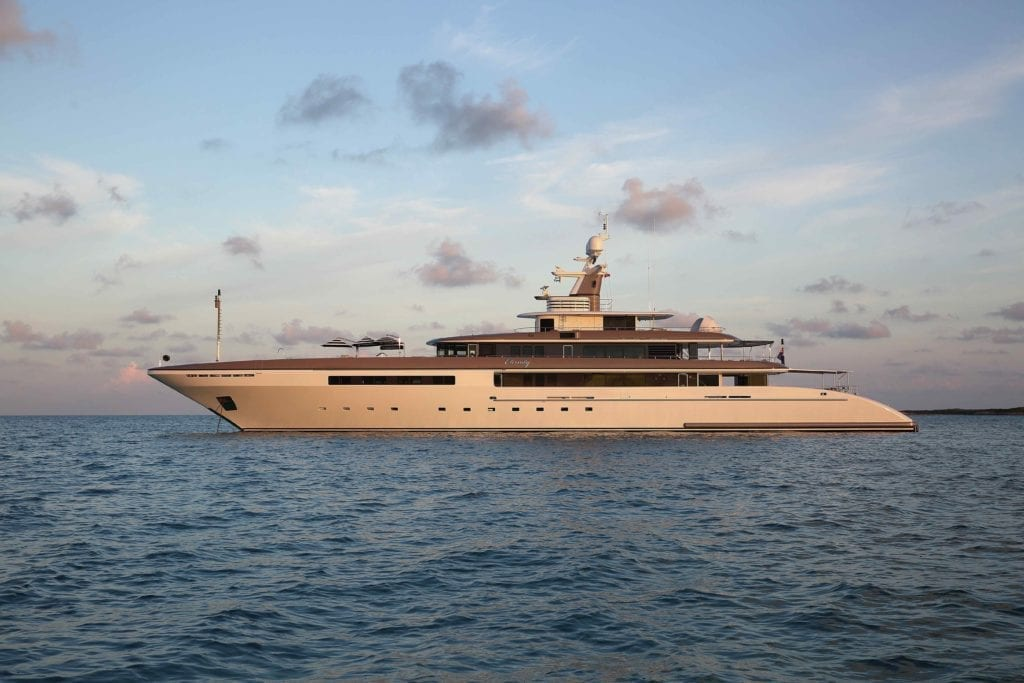 Eternity Side Profile Exterior Yacht at Sunset