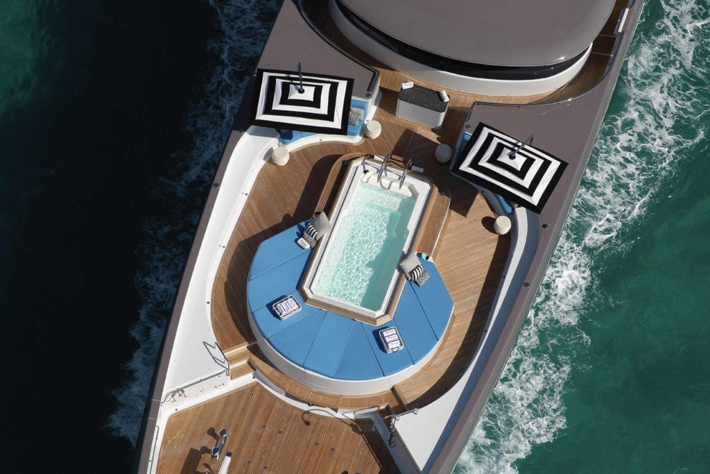 Aerial View Eternity Yacht On deck Jacuzzi