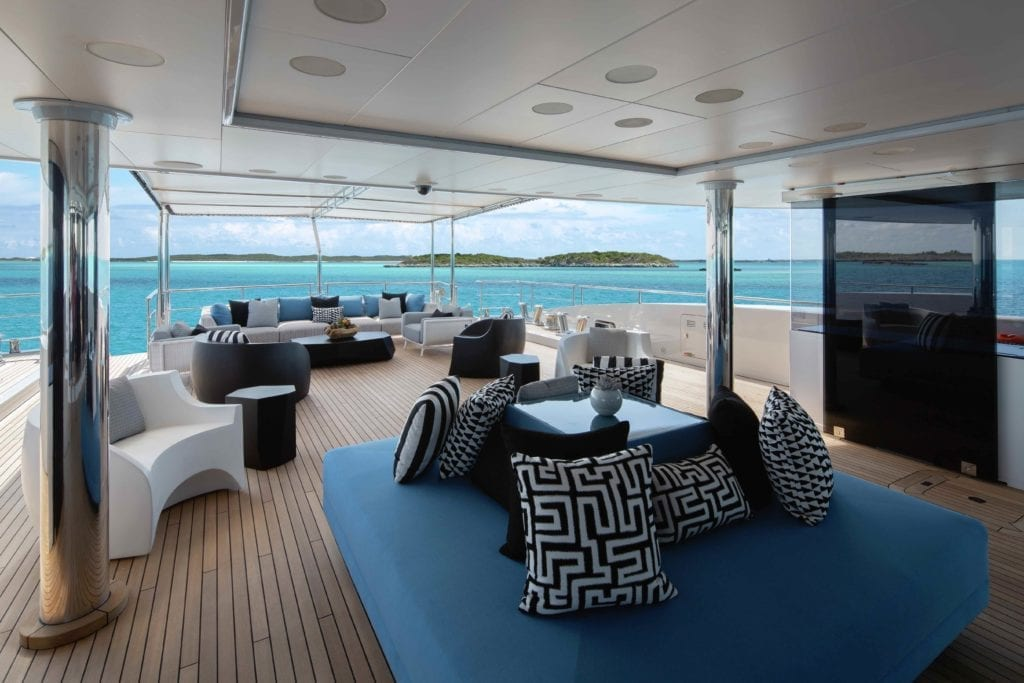 Eternity Yacht External Lounge SEating Area on Deck