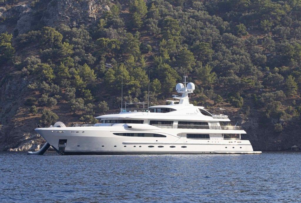 Modern Superyacht exterior of Sea Rhapsody featuring slide