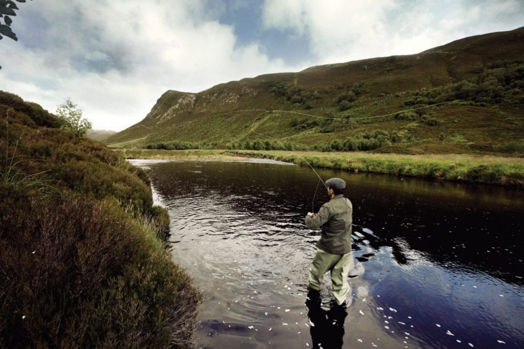 Fishing in the picturesque lakes at Alladale wilderness reserve