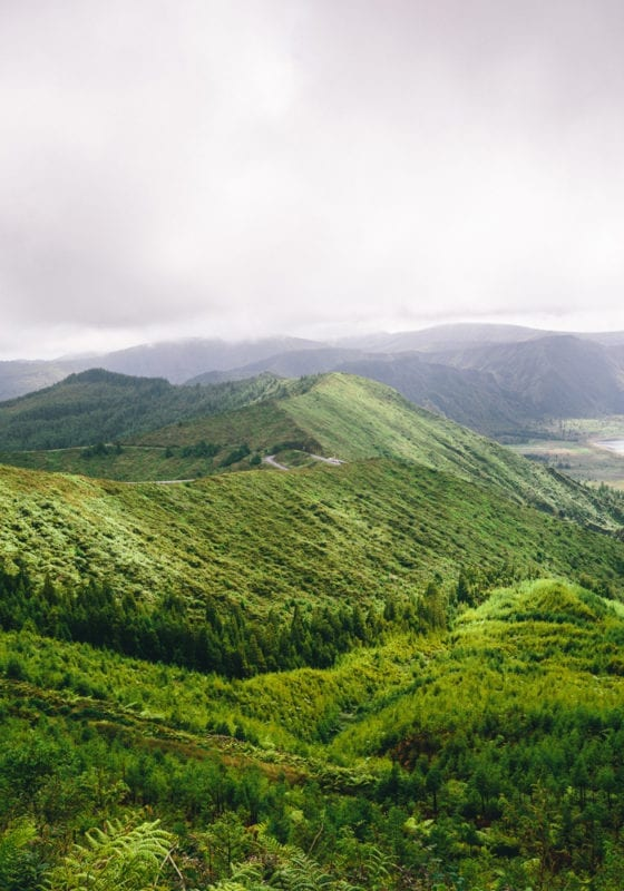 Green hills of the Azores Islands