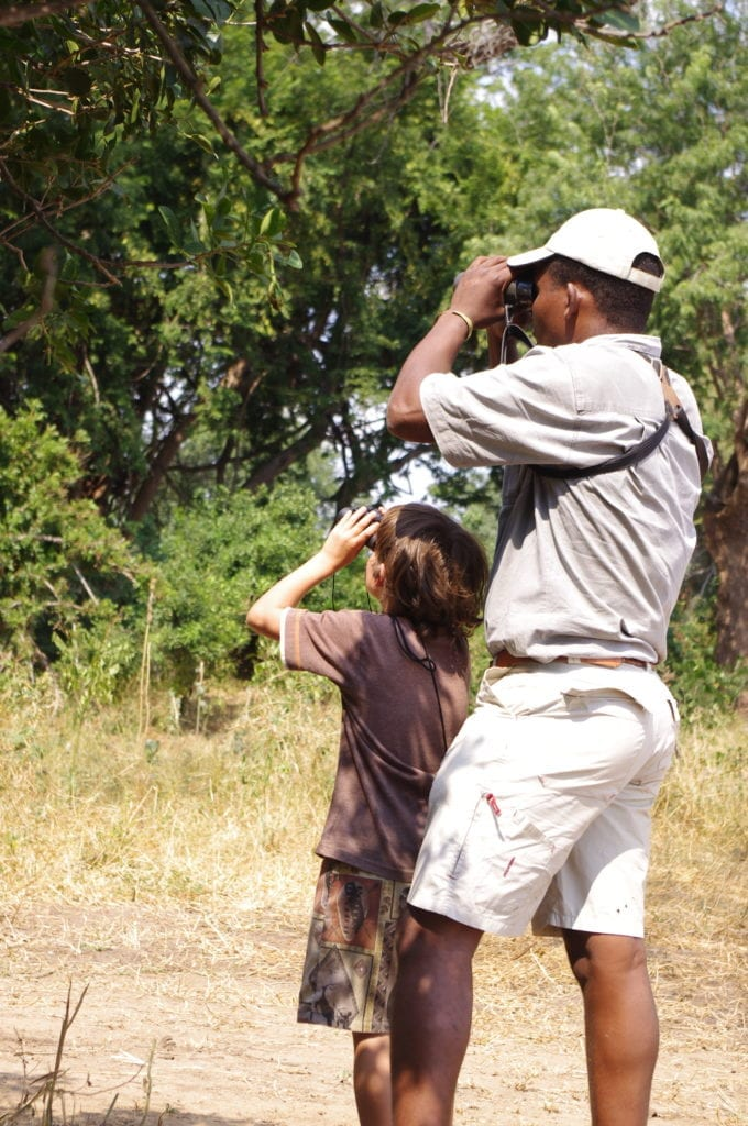 expert guide and child on a family wildlife holiday in Africa