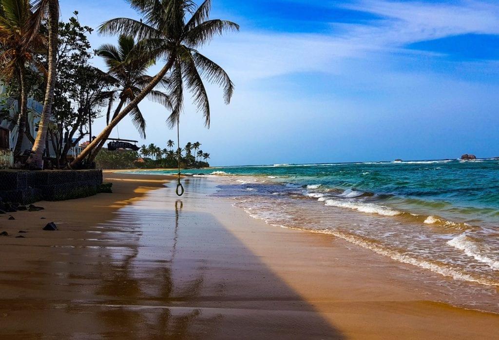 Hikkaduwa Beach Sunset Palm Trees Sri Lanka