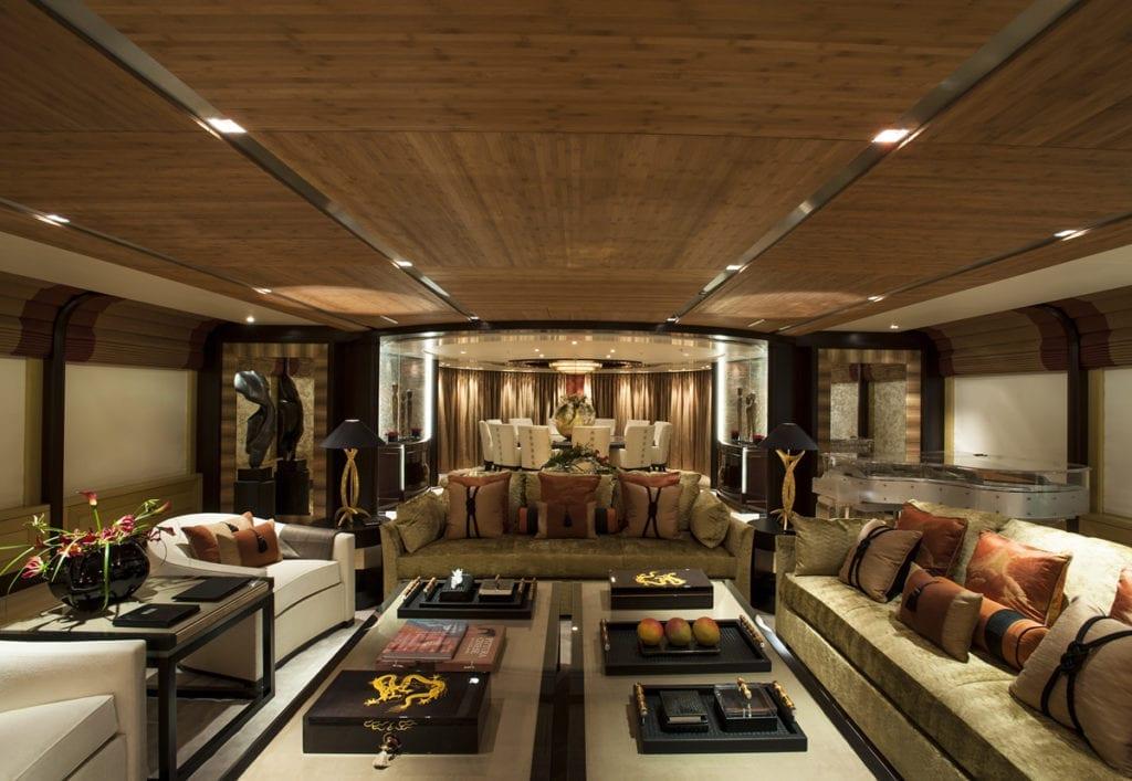 Interior Superyacht dining area of Sea Rhapsody