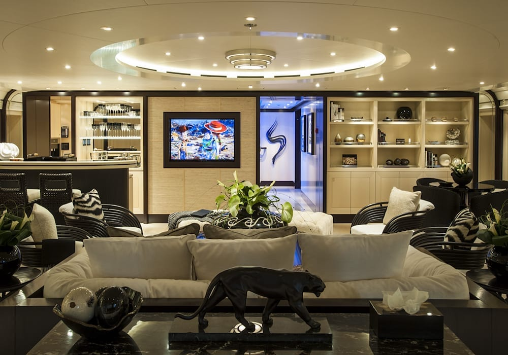 Yacht Modern interior lounge area of Sea Rhapsody
