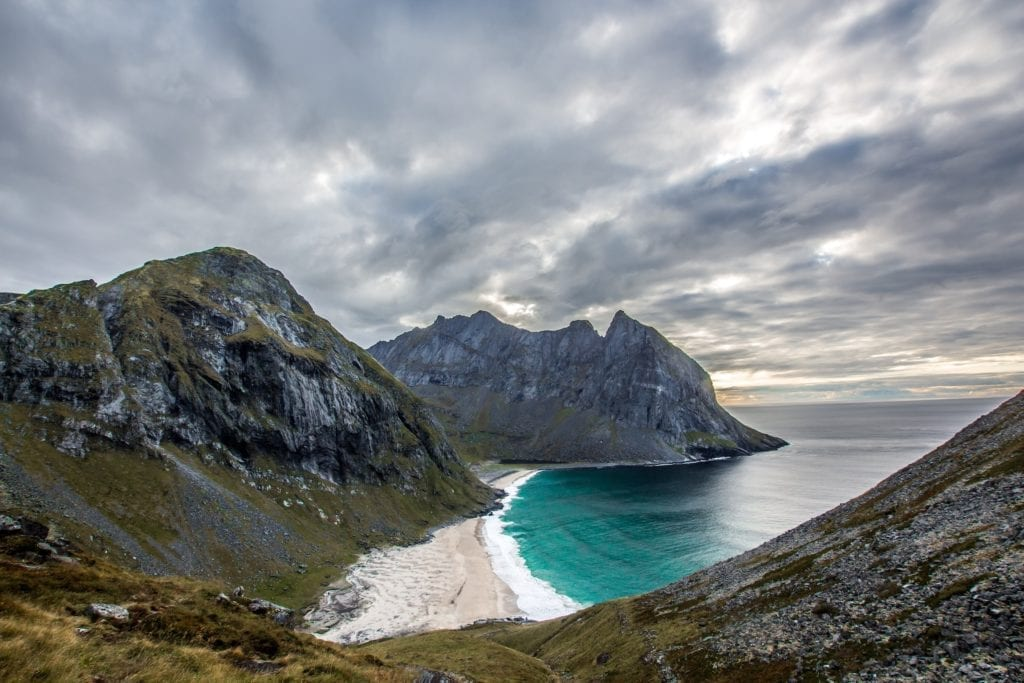 Kvalvika Beach and Coastline in Lofoten Norway