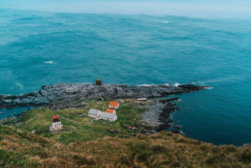 Lighthouse and Rural houses on Runde Island in Norway