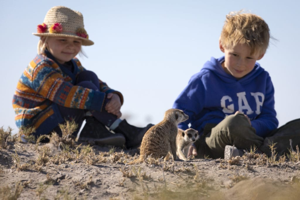 Children with Meerkats on a family wildlife adventure in Angola