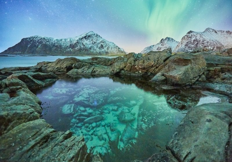 Snow Capped Mountains and Northern Lights Reflected on the Water in Norway