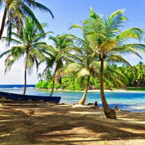 PAnama San Blas Islands and Beach Palm Trees