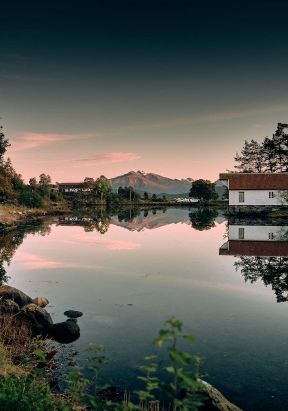 REflection in Alesund at Sunset Norway