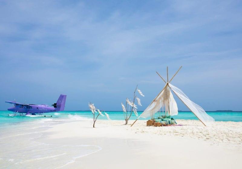 Private travel by sea plane to the Nautilus, Maldives